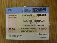 19/03/1988 Ticket: Rugby Union - England v Ireland [At Twickenham] (slight foldi