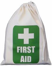Green First Aid design - Natural cotton SMALL drawstring bag - SUPPLIED EMPTY
