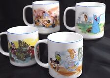 DISNEY Vntg Blue Rim 4 MUGS PINOCCHIO SNOW WHITE CINDERELLA SORCERER Japan