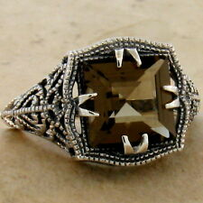 GENUINE SMOKY QUARTZ ANTIQUE STYLE 925 STERLING SILVER RING SIZE 8,         #901