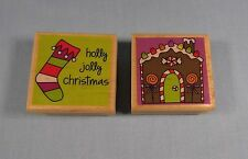Rubber Stamp Wood - Katie & Co Gingerbread House & Holly Jolly Xmas LOT OF 2