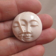 Double Moon Face Pendant in 25 mm Buffalo Bone Carving with Hole on Back Side