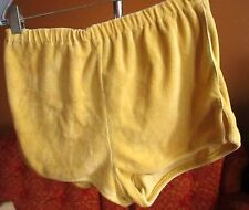 LARGE Vtg 70s Classic Yellow Piped Terry Cloth tennis Disco Shorts Womens 28-30W