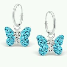 Childrens Girls Sterling Silver Hoop & Aqua & Clear Crystal Butterfly Earrings