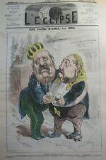 UNE PAIRE D AMIS CARICATURE GILL JOURNAL SATIRIQUE L'ECLIPSE N° 162 de 1871
