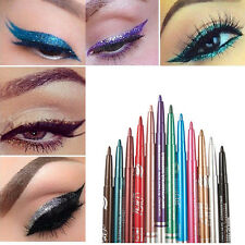 12 Color Glitter Eye Shadow Eyeliner Lip Liner Pencil Pen Cosmetic Makeup Set UK