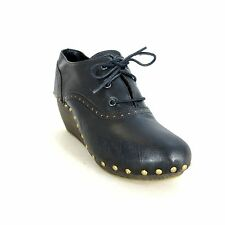 41 - FIEL Black Leather Studded Platform Wooden Wedge Clogs Shoes 0218WC