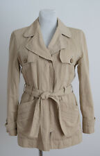 WOMEN MAX&CO CLASSICS THIN TRENCH COAT JACKET WITH BELT COTTON BEIGE SIZE UK 14
