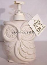 Bath and Body Works 16 oz Tan Beige Cream Ceramic Owl Soap Dispenser