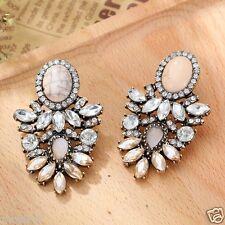 New Woman Statement clear crystal Rhinestone long Ear Studs hoop earrings 1006