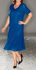 KLEID FESTKLEID ABENDKLEID VON M COLLECTION STRASSSTEINE ROYALBLAU Gr. 48 NEU