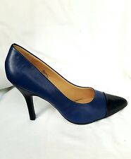 Women's Nine West High Heel Pumps  leather upper  - Blue& black  - pointed toe