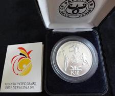 1991 SILVER PROOF PAPUA NEW GUINEA 10 KINA COIN + COA 42grams PACIFIC GAMES