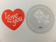 Rose I Love You Round Cake & Cupcake Stencil Lot 2 Wilton Heart Valentine's Day