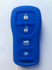 Fits NISSAN New Skin Jacket Silicone Remote Key Fob Cover Bag Holder-Blue