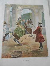 1898  Au manège ( équitation ) par L. Vallet belle Typogravure