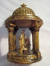 Holy Family Nativity Under Golden Dome W/Star Creche Pressepi Crib Krippin