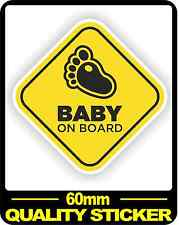 CAR VEHICLE BABY ON BOARD SIGN SAFETY STICKER WARNING DECAL BNIP FOOT 60MM