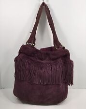 BOHO FREE SPIRITED PURPLE SUEDE LEATHER FRINGE HANDBAG by LUCKY BRAND