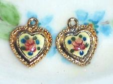 #1490D Vintage Guilloche Charms Brass Heart 13x14mm Connectors enamel Flower NOS