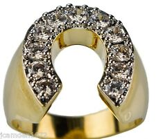 Horseshoe ring Men's 18K yellow gold overlay size 8