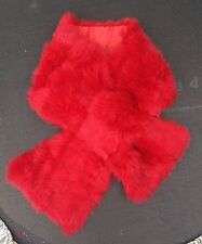 bright red real genuine rabbit fur pelt collar scarf satin lining 92cm x 16cm