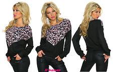maglia donna inserto maculato a v taglia unica
