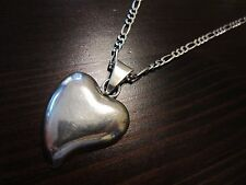 VTG 925 Italy Sterling Silver Signed Chain & Mexico 925 Heart Pendant 23 IN-16Gr