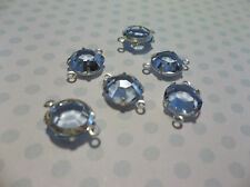 Lt Sapphire Blue Czech Glass 8mm Crystals Silver Plated Channel Settings - Qty 6