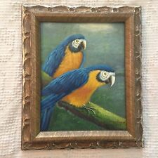 """Signed and Framed Original Oil on Canvas Parrot Birds Painting (8"""" X 10"""")"""