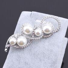 New Crystal Rhinestone Silver Flower Pearl Brooch Bridal Wedding Fashion Gift