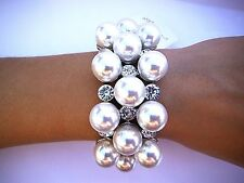 White Pearl Crystal Stretch Bracelet Bangle Wedding Bride Bridal Pageant Prom