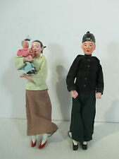 Chinese Dolls Family Man Woman Baby Vtg Clay Head Feet and Hands Silk Set of 2