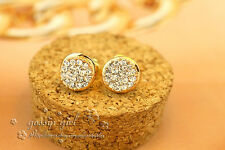 Bling Bling 18K Gold Filled 10MM Full Swarovski Crystal Round Stud Earrings