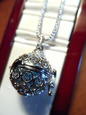 "New GLOBE LOCKET Filigree Necklace & Pendant Silvertone 18""-20"" JewleryGift XMAS"