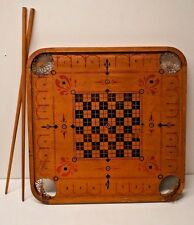 Antique Vintage Carrom Archarena Co Game Board - Double Sided - Wood Ring Pieces