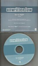 UNWRITTEN LAW Up All Night RARE PROMO Radio DJ CD single 2002 MINT INTR 10664
