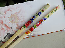 JAPANESE WOMEN BLUE RED FLOWER CHOPSTICKS HAIR STICK CHINESE DINNER PARTY
