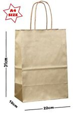 5 x Gold Paper Party Gift Bags ~ Boutique Shop Loot Carrier Bag - SIZE A4
