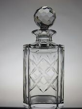THOMAS WEBB CRYSTAL CUT GLASS SQUARE WHISKY WINE DECANTER - SIGNED