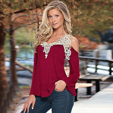 Fashion Woman Lace Off Shoulder V Neck Long Sleeve Casual T-Shirt Top Blouse S
