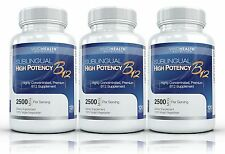 3x High Potency Sublingual B12: Vivid Nutrition Premium Vitamin B 12 120 ct each