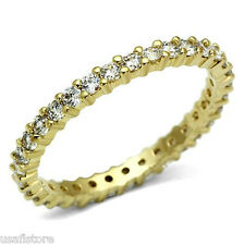 Ladies Gold EP Clear CZ Stones Thin Eternity Ring Size 9
