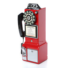 Vintage Pay Phone Red Old Style Retro Look Telephone Coin 1950 Payphone Cord New
