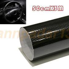 Luxury 5D 50cm*3M Premium High Gloss Black Carbon Fiber Vinyl Wrap Bubble