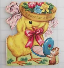 Vintage Die-Cut EASTER GREETING CARD Chick in Bonnet w/ Powder Compact Whitman