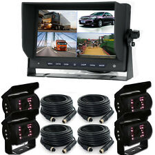 "9"" Split Quad Car Reversing Monitor 4 Video +4x Truck CCD Backup Camera 24V-12V"