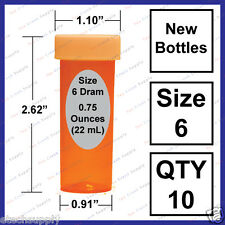 10 NEW Size 6 Dram Safety Small Empty RX Prescription Pill Bottles Craft Storage
