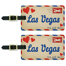 Air Mail Postcard Love for Las Vegas Luggage Suitcase Carry-On ID Tags Set of 2