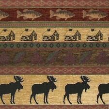 UPHOLSTERY FABRIC MOUNTAIN LODGE CABIN RUSTIC MOOSE FISH LEAVES FURNITURE